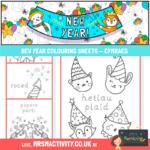 New Year Colouring Sheets – Cymraeg