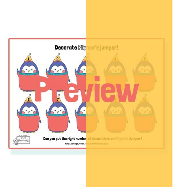 Penguin Counting Activity - x10 per sheet - Full Colour