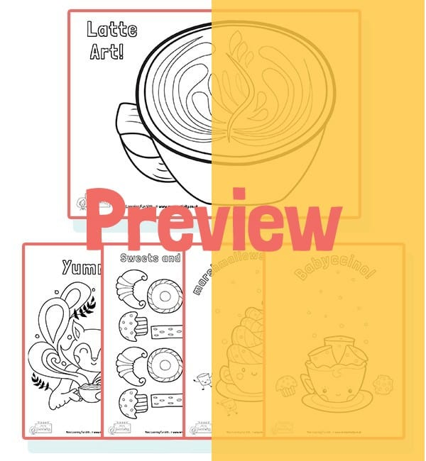 Colouring sheets for coffee shops