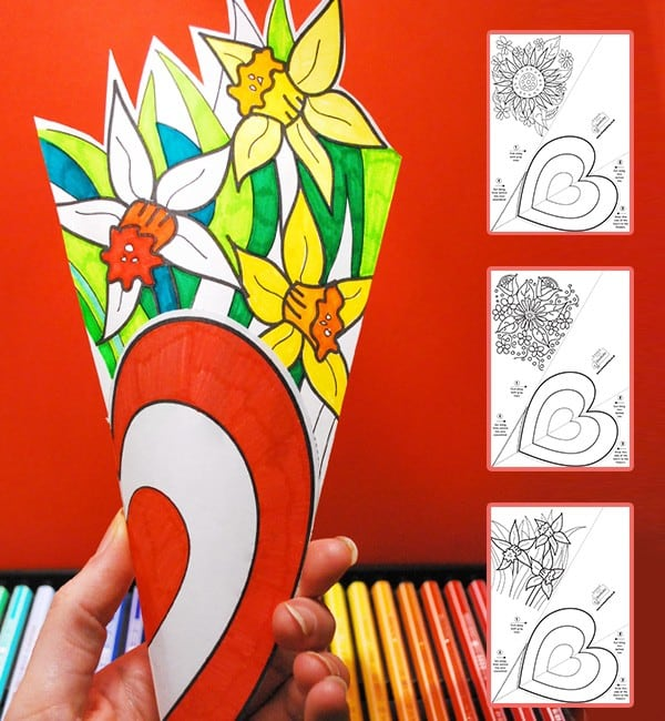 St David's Day Flower Colouring Craft - Smaller Version