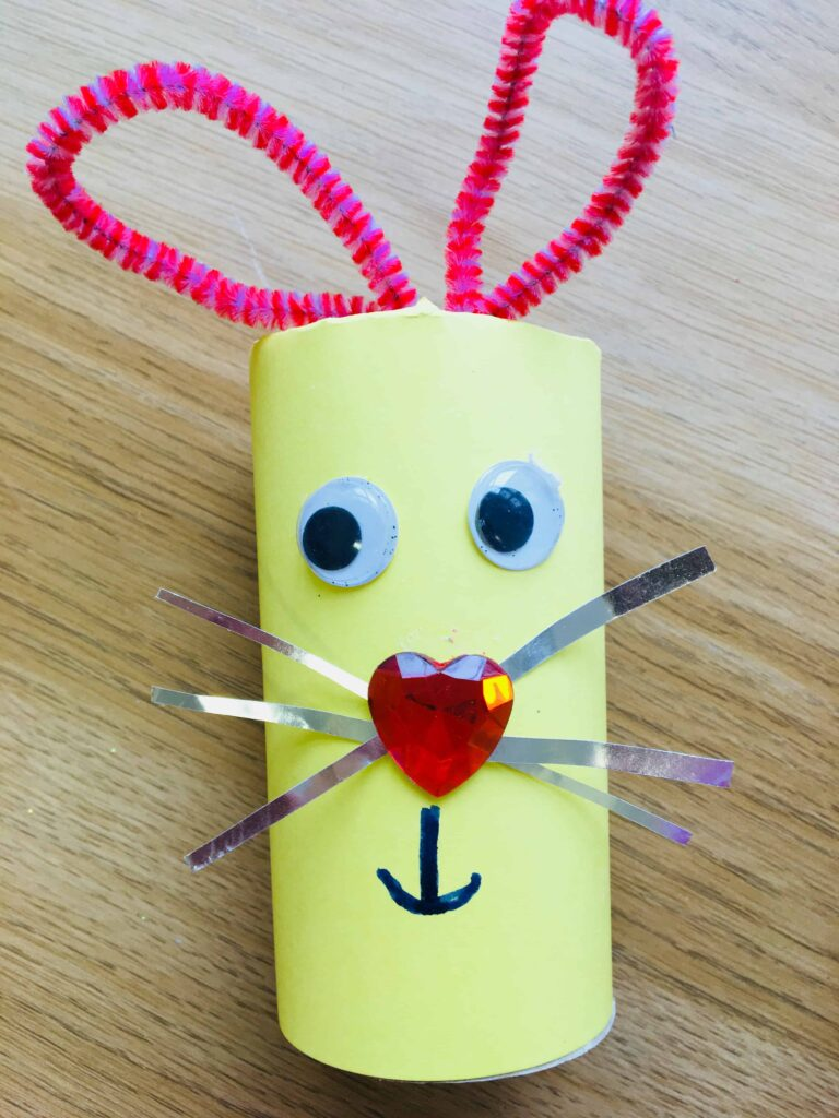 Easter bunny cardboard tube craft,