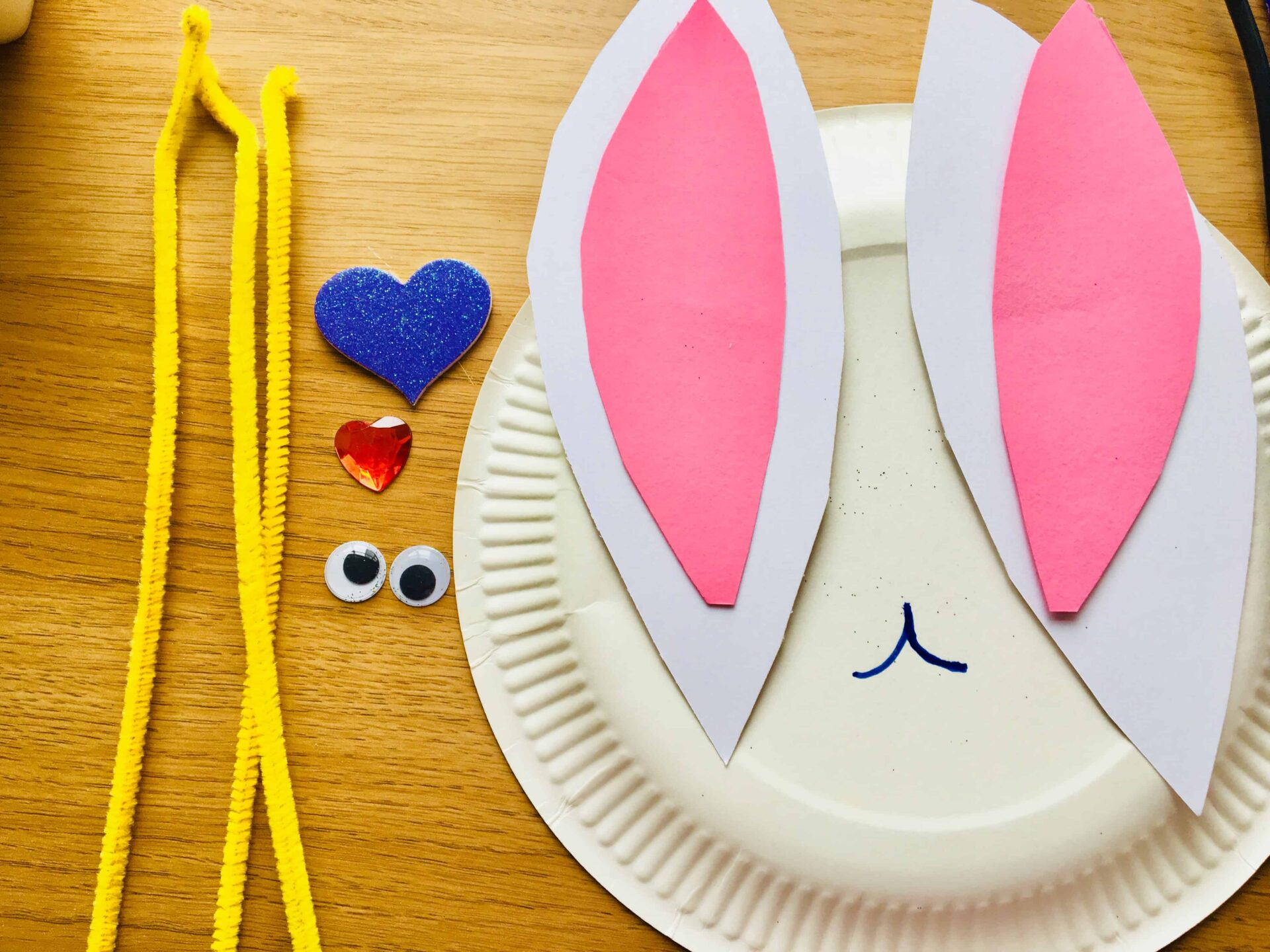 Easter bunny face plate craft