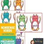 Alien Word Cards x2 Per Page - Pre Cursive Font