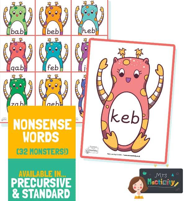 Alien Word Cards A4 - Pre Cursive Font