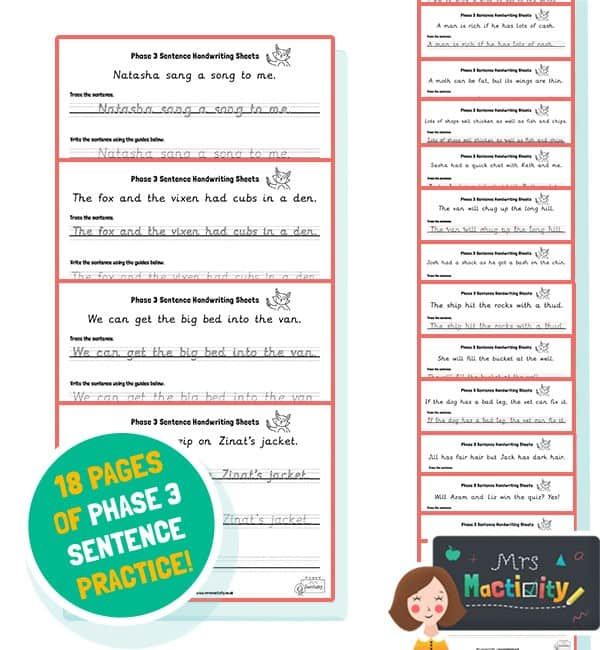 Phase 3 Sentence Handwriting Sheets - Ink Friendly