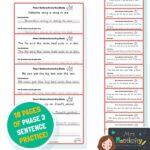 Phase 3 Sentence Handwriting Sheets - Colour Version