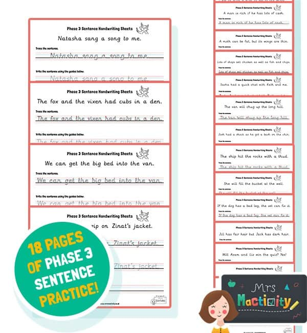 Phase 3 Sentence Handwriting Sheets - Colour Version