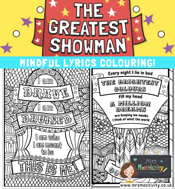 The Greatest Showman Mindfulness Quotes Colouring
