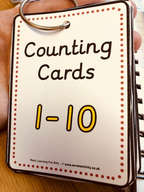 Number cards 0-10 for binder rings