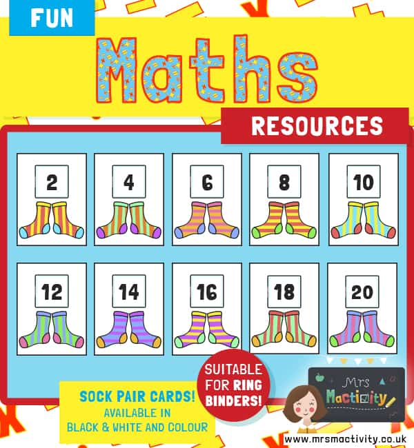 Counting in 2s sock display cards