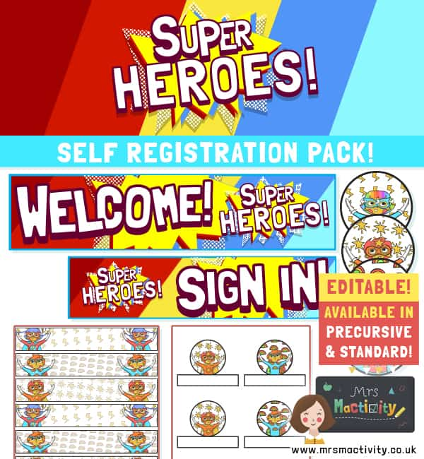 Superhero Self Registration Display Pack