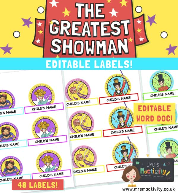 The Greatest Showman Editable Name Labels