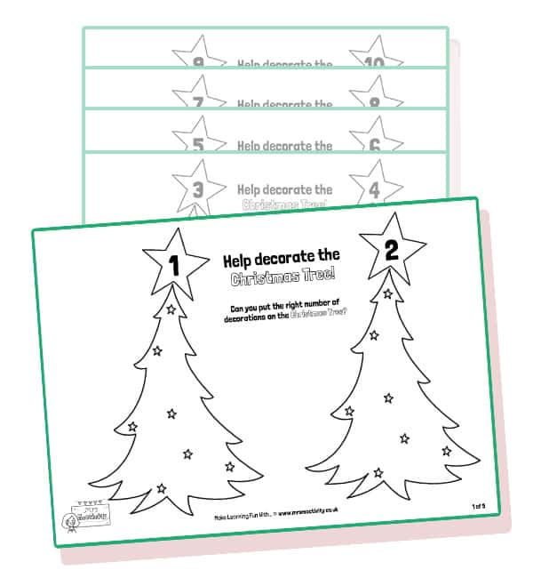 Christmas tree counting activity b&w