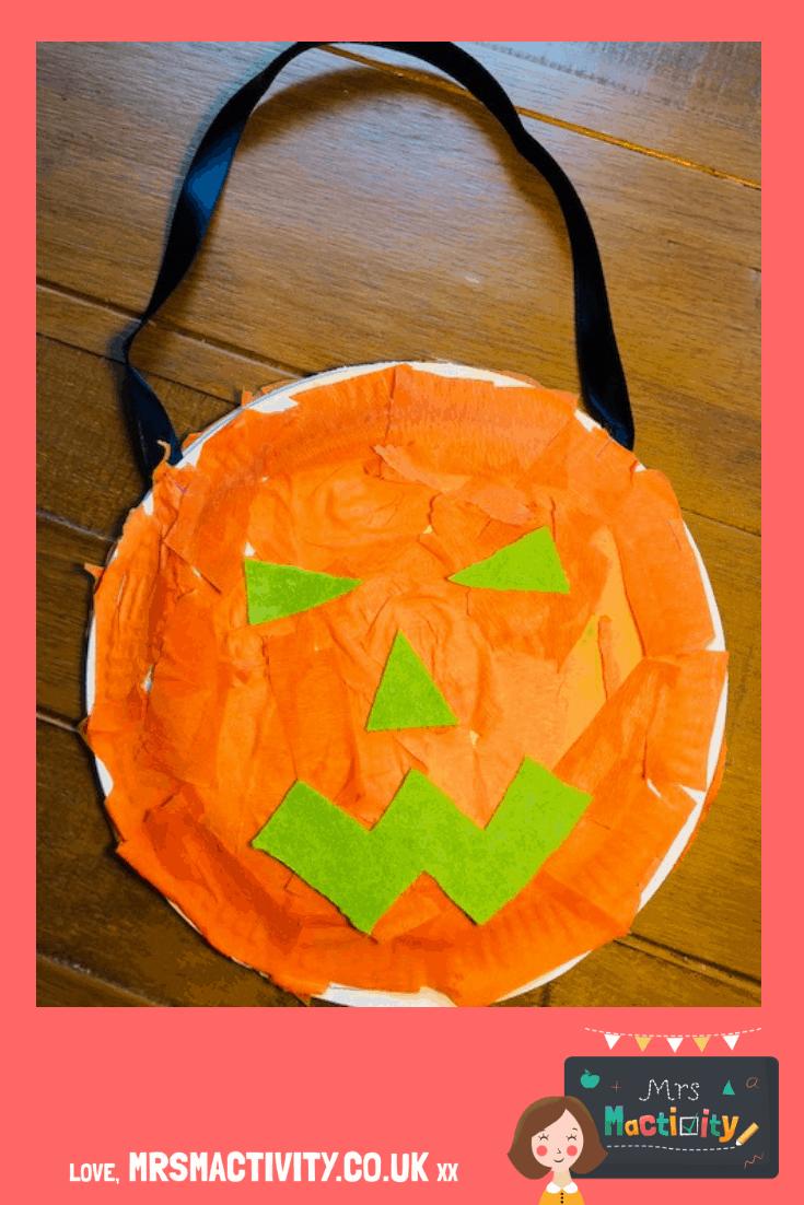 How to make a halloween pumpkin paper plate craft