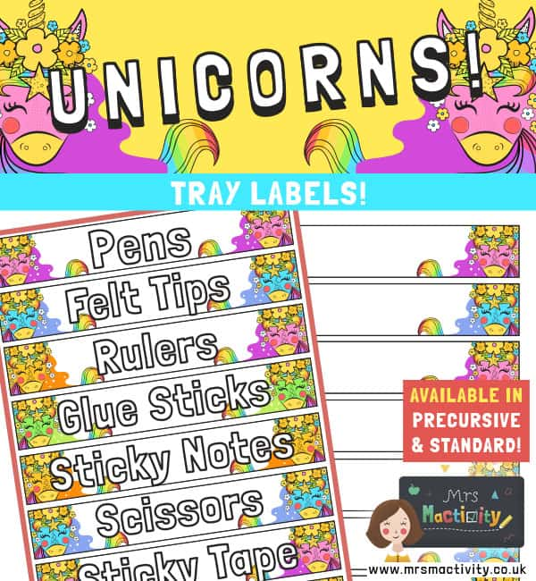 unicorn tray labels