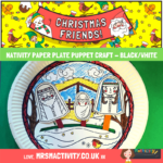 Nativity Paper plate puppet craft - black and white