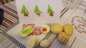 christmas tree potato print cards
