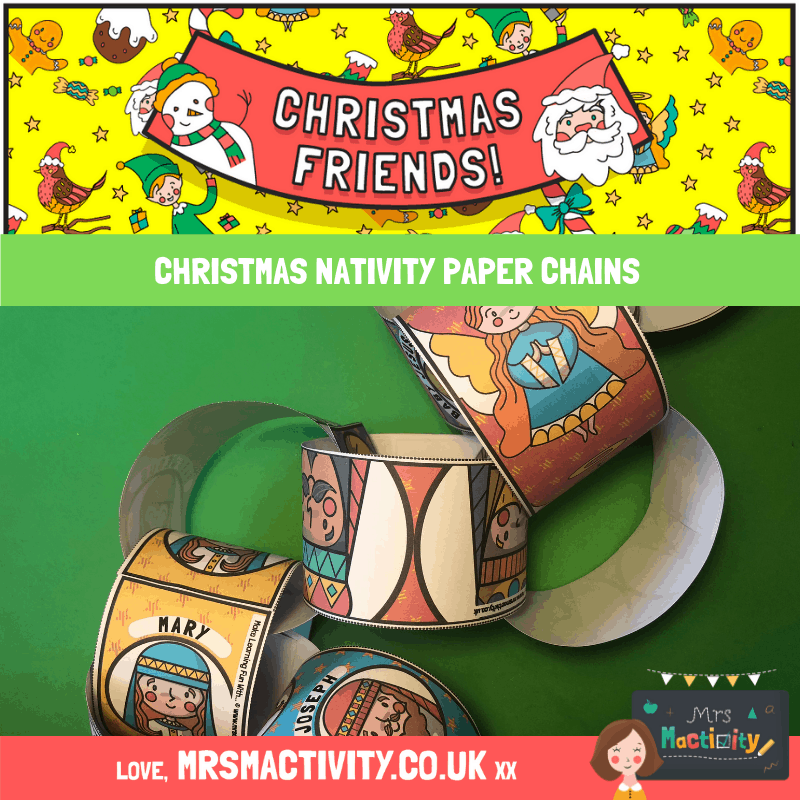 free christmas Nativity Paper Chains