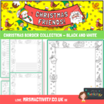 Christmas page borders black and white