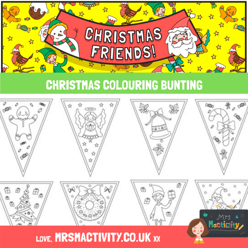 Christmas colouring bunting