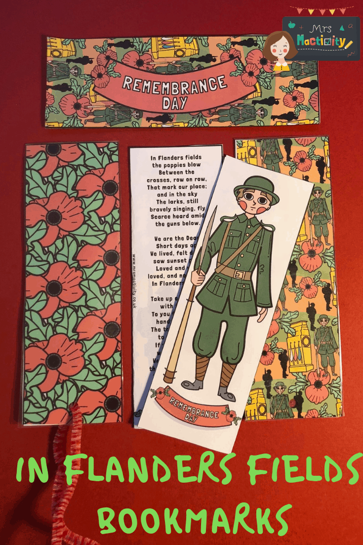 Remembrance day bookmarks