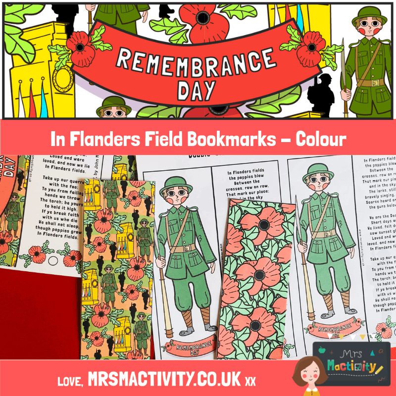 Remembrance Day In Flanders Field Poem Bookmark