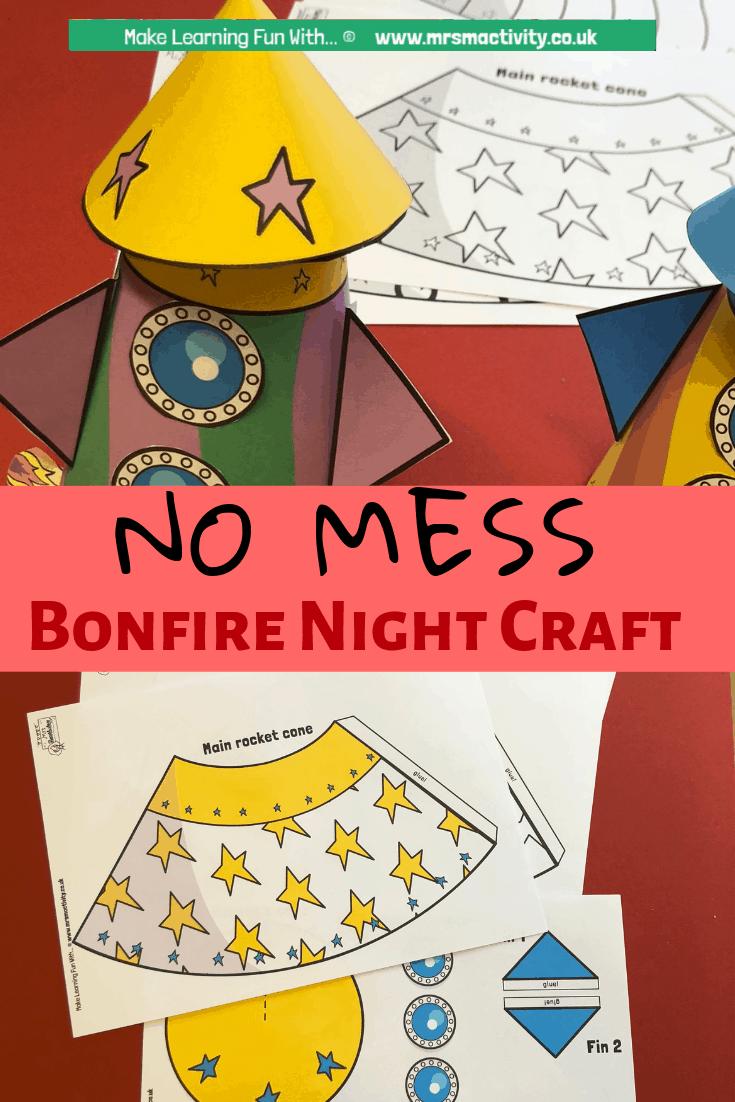 bonfire night no mess cone craft