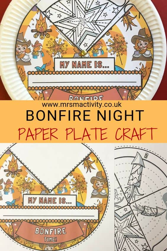 bonfire night paper plate craft