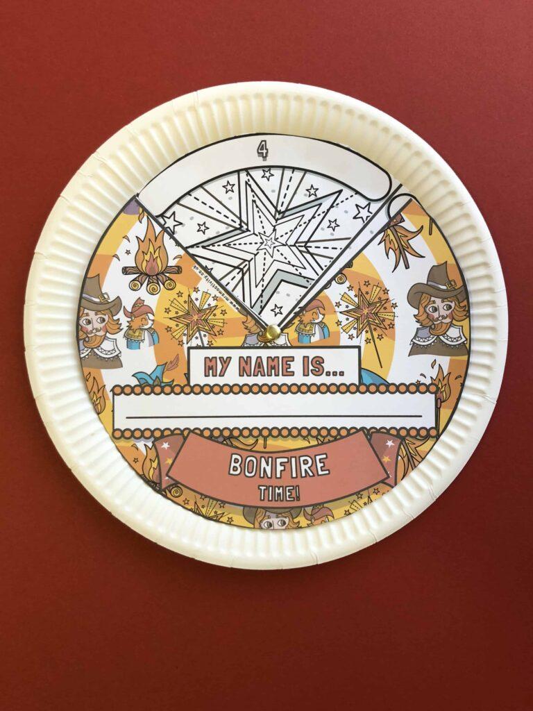 bonfire night paper plate craft template