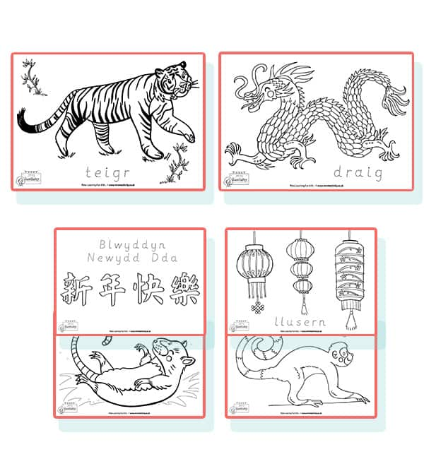 chinese new year colouring sheets welsh