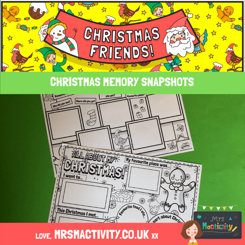 Christmas Memory Snapshot Worksheet