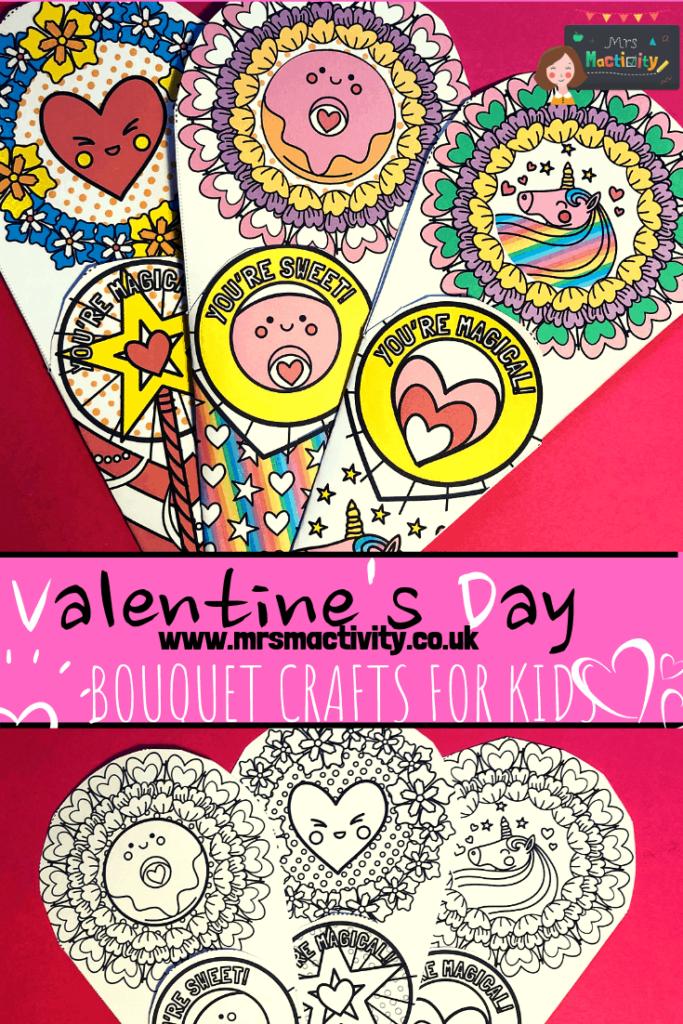 Valentine's Day bouquet crafts for kids