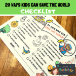 20 ways for kids to save the world checklist