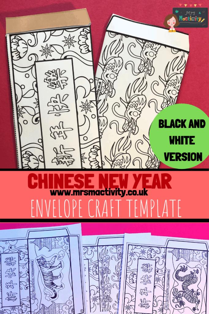 Chinese Envelope Craft Template - Black_White