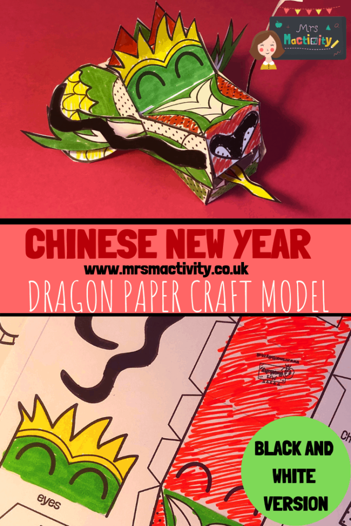 Chinese New year dragon paper craft model - black and white