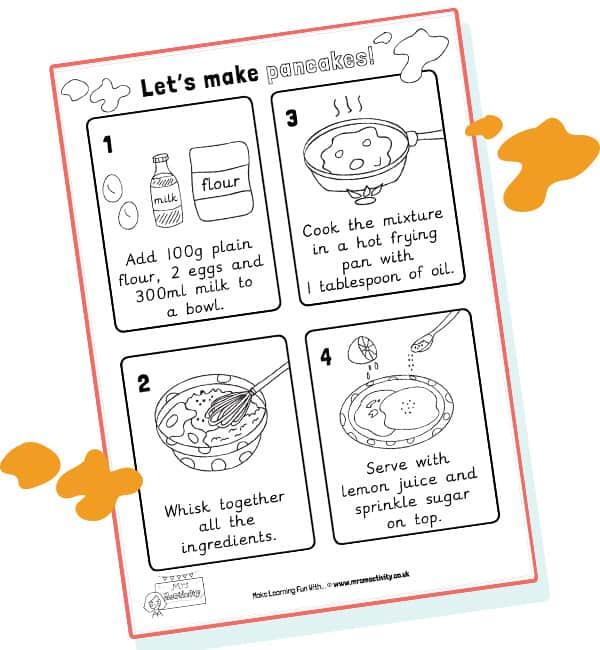 pancake day recipe primary resources