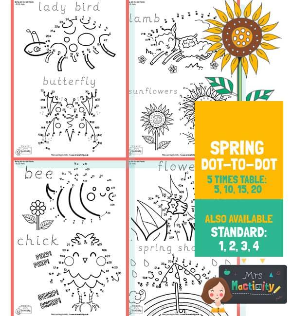 Spring 5 Times Table Dot to Dot