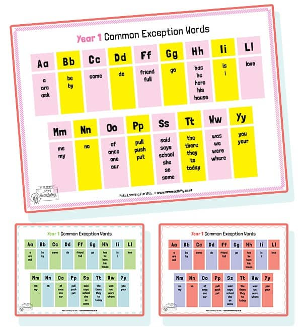 Free Colour Common Exception Word Mat Year 1