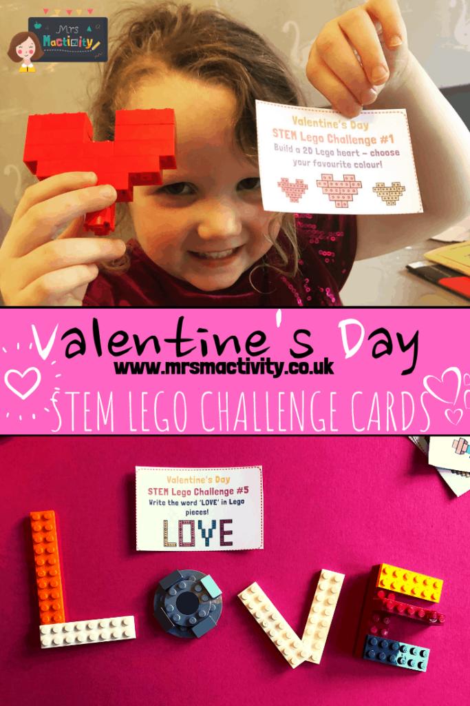 Valentine's Day STEM lego challenge cards