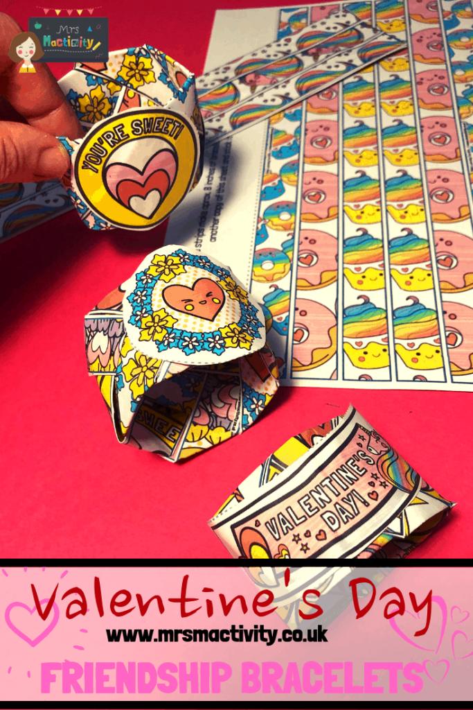 Valentines Day paper friendship bracelets