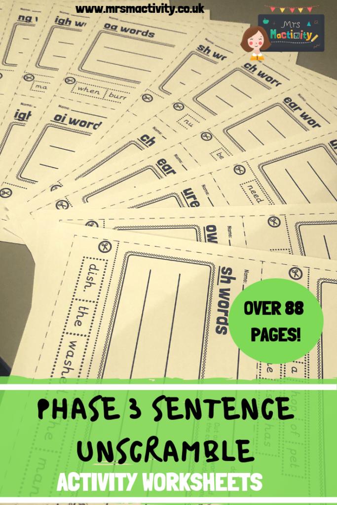 Phonics Phase 3 Sentence Unscramble Resource Pack