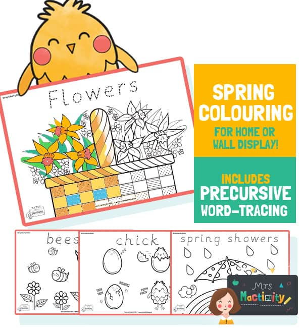 Spring Colouring Sheets With Word Trace - A4