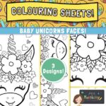 Baby Unicorn Faces Colouring Pages