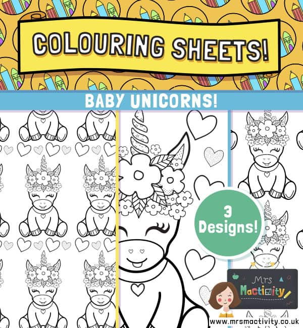 Baby Unicorns Colouring Pages