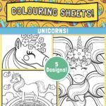website preview Colouring sheets UNICORNS