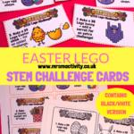 Easter lego STEM challenge cards, Easter lego cards, Easter lego activities, Easter lego ideas