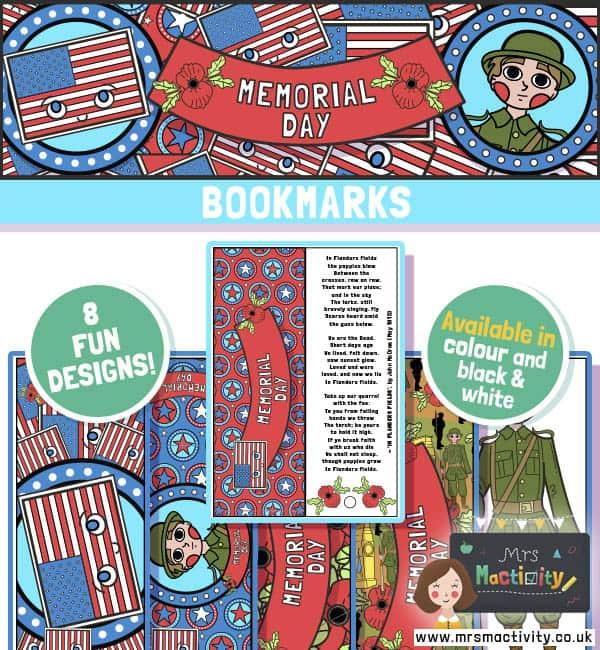 Memorial Day bookmark printables