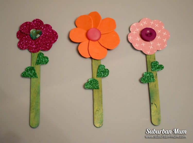 Lollypop stick flowers