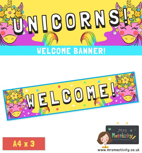 Unicorn Welcome Display Banner