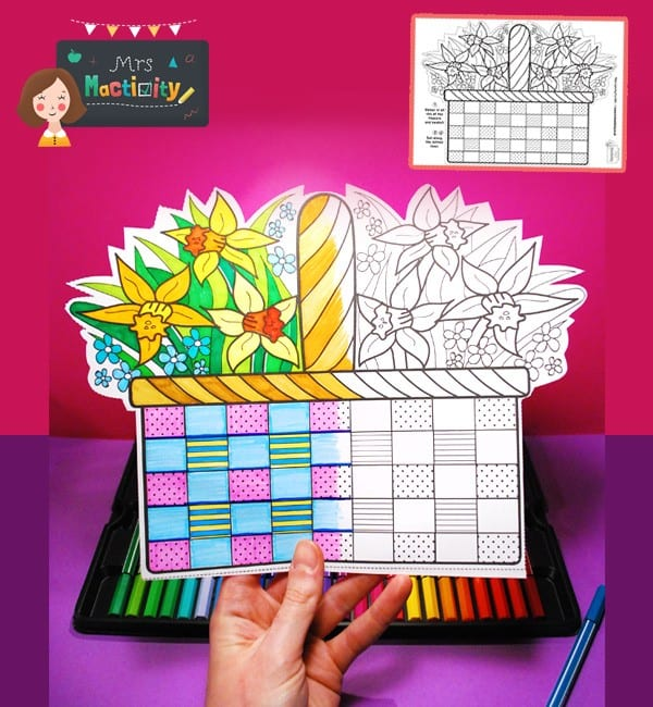 Mother's Day Basket Colouring Activity